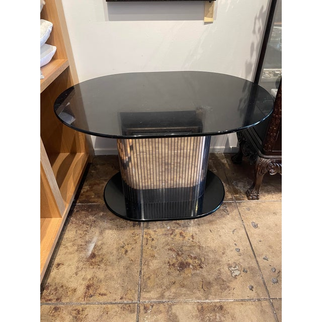 Vintage 1970s Oval Black Lacquered Table With Mirrored Panel Pedestal For Sale In Los Angeles - Image 6 of 6