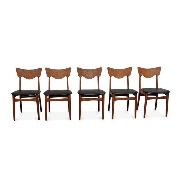 "Wood Original Danish Mid Century Modern Teak Dining Chair - Set of 5 - ""Paul"" For Sale - Image 7 of 10"