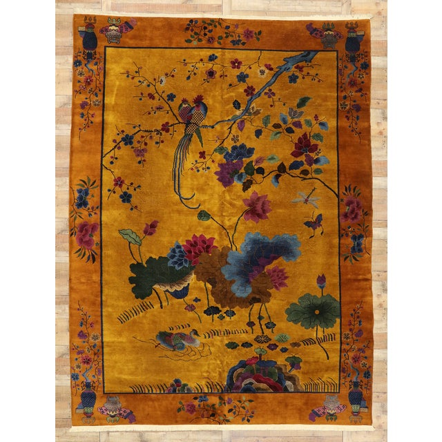 Orange Antique Chinese Pictorial Rug With Art Deco Style - 10'00 X 13'04 For Sale - Image 8 of 9
