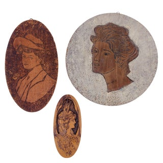 Flemish Art Gibson Girl Pyrography Plaques - Set of 3 For Sale