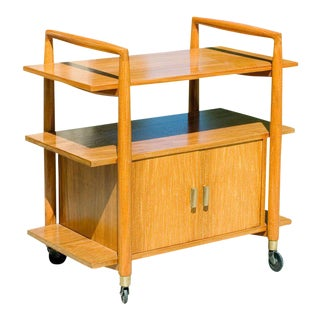 Three-Tier Mid-Century Bar Cart with Storage Cabinet For Sale
