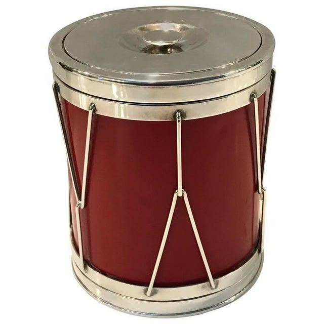 Red Italian Modern Silver and Leather Ice Bucket For Sale - Image 8 of 8