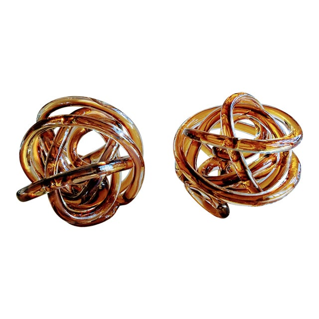 1970s Vintage Italian Butterscotch/Root Beer Cased Glass Sculptural Knot For Sale