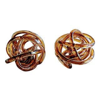 1970s Vintage Italian Butterscotch/Root Beer Cased Glass Sculptural Knots - a Pair For Sale