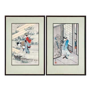 1930s Japanese Wood Block Prints With Silk Matt - a Pair For Sale