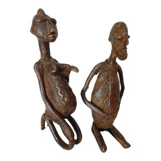 Dogon Stone and Bronze Figures of a Couple Mali Africa - a Pair