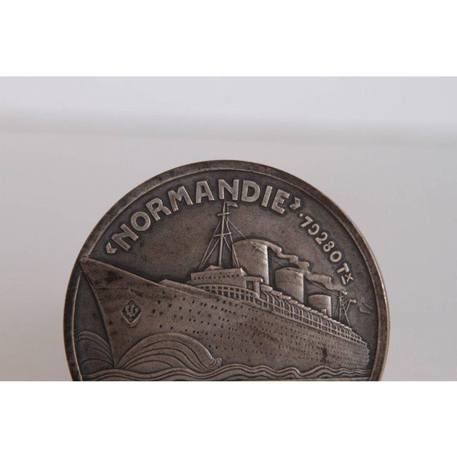 Art Deco French Normandie Medallion by Jean Vernon Silvered Bronze For Sale - Image 9 of 11