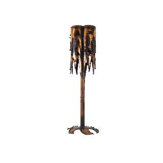 Tom Greene Mid-Century Brutalist Metal & Copper Table Lamp