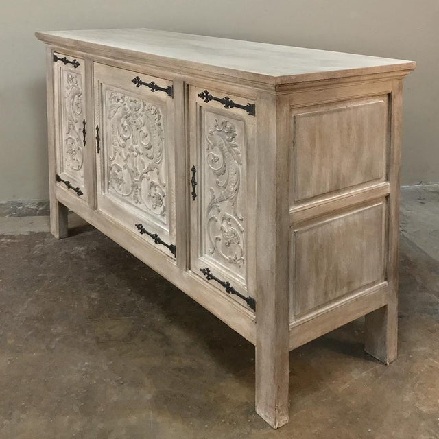 Buffet, Antique Gothic in Whitewashed Oak For Sale - Image 4 of 13