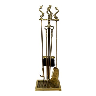 Harvin Virginia Metalcrafters Dolphin Brass Fireplace Tool Set For Sale