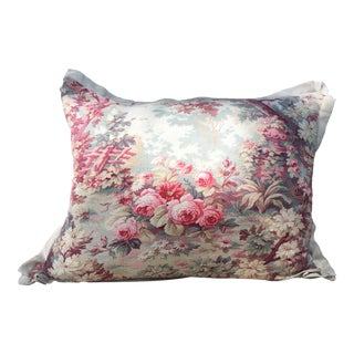 Antique French Pink Floral Fabric Pillow For Sale