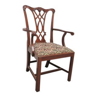 Henkel Harris Chippendale Mahogany Side / Dining Arm Chair For Sale