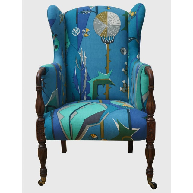 Blue Sheraton Upholstered Mahogany Wingback Chair For Sale - Image 8 of 8