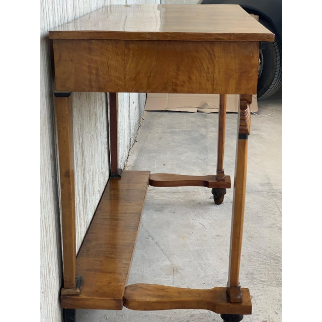 Black Antique French Empire Fruitwood Console Table With Drawer, Early 19th Century For Sale - Image 8 of 10