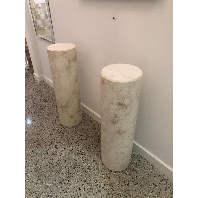Italian Sandstone Double Pedestal Console Tables - a Pair For Sale - Image 4 of 13