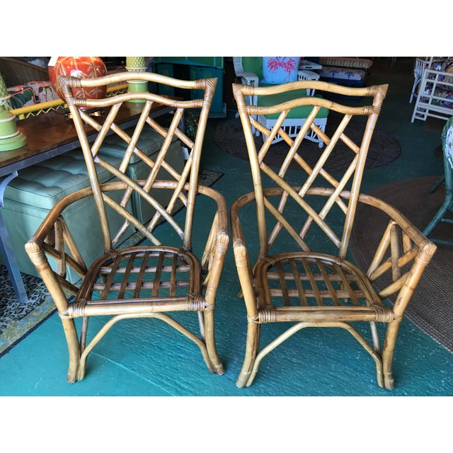 Vintage Chippendale Rattan Chairs-Pair For Sale - Image 10 of 10
