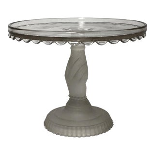 Vintage Glass Cake Stand with Hand Holding Pedestal For Sale