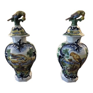 Antique Delft Polychrome Urns - a Pair For Sale