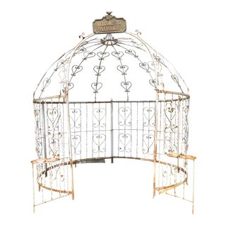 Mid-Century Iron Gazebo With Planters For Sale