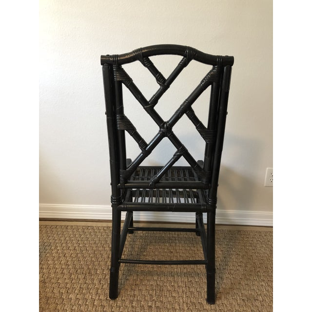 1980s Regency Black Bamboo Side Chair For Sale - Image 4 of 11