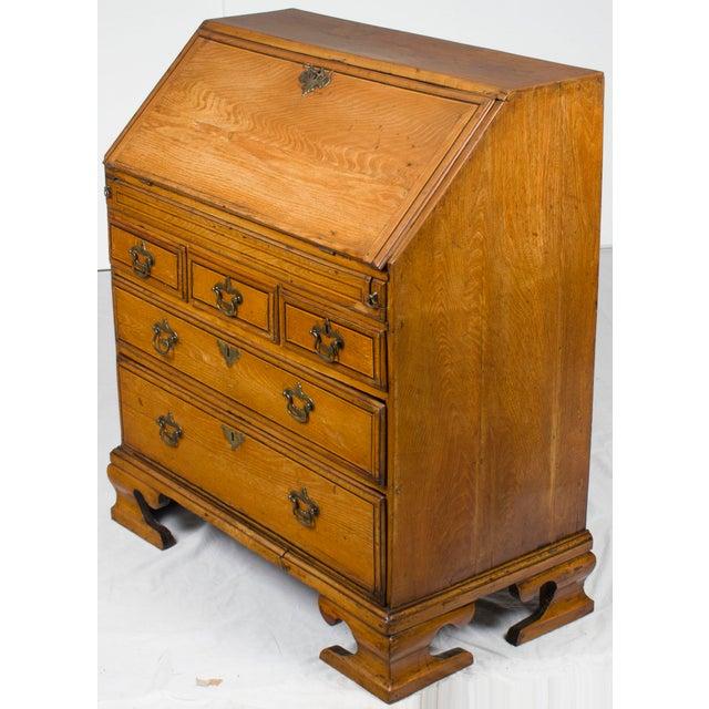 19th Century Victorian Period Light Oak Slant Front Bureau Secretary Desk For Sale - Image 11 of 13