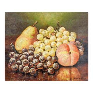 1911 Still Life With Grapes Pear & Peach Painting