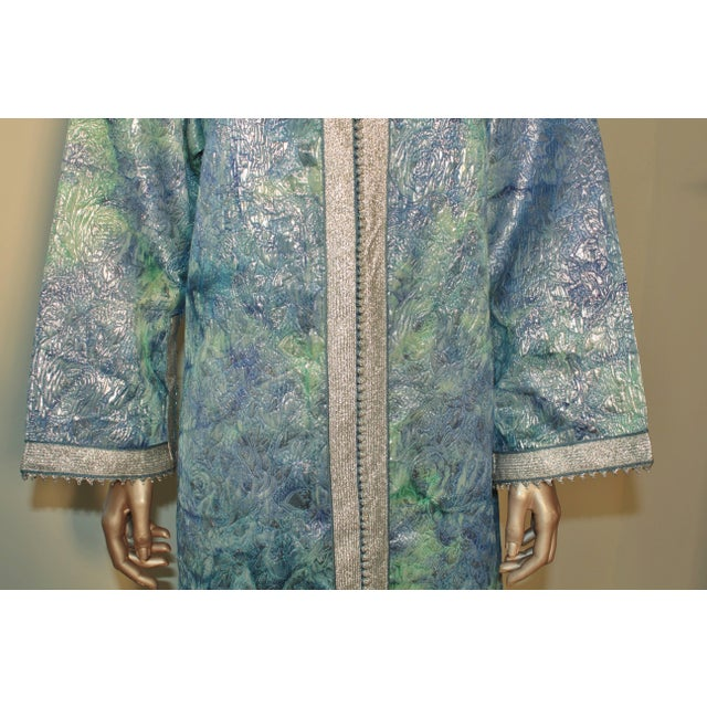 Islamic Moroccan Caftan Maxi Dress Brocade Aquamarine Blue and Silver Size M to L For Sale - Image 3 of 11