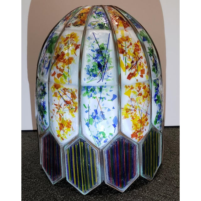 American Mid 20th Century American Leaded Confetti Glass Paneled Lamp Shade For Sale - Image 3 of 8