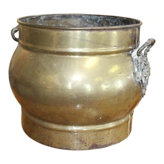 Traditional Brass Fireplace Cachepot For Sale