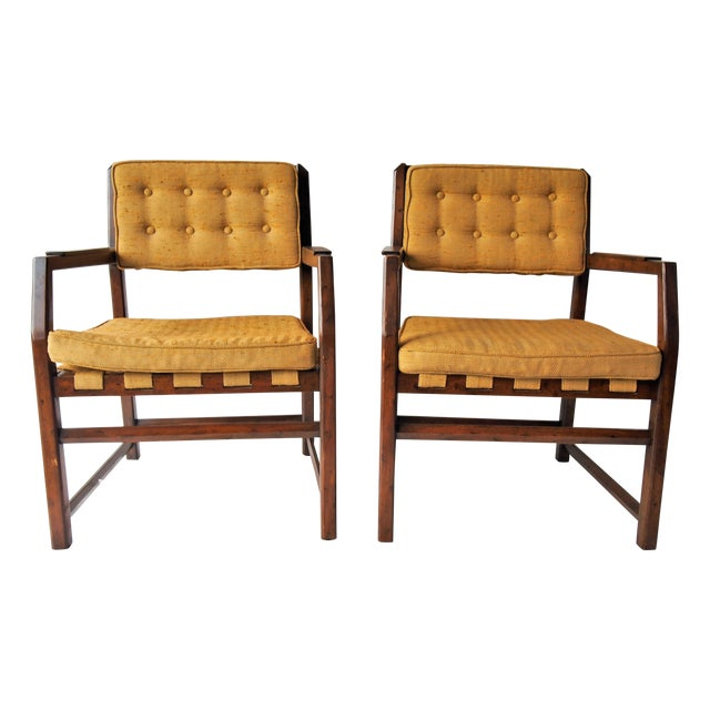 Golden Mid-Century Tufted Chairs - Pair For Sale