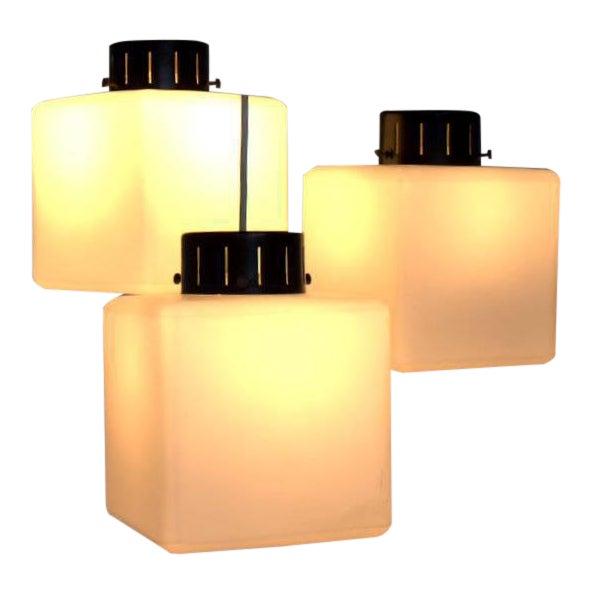 Set of Three Milk Glass Cube Pendants by Stilnovo, Italy, 1960s For Sale