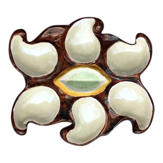 French Vallauris Earthenware Oyster Plate For Sale