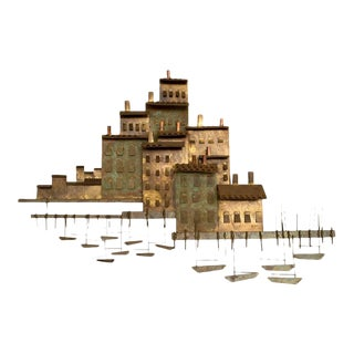 """Curtis Jere """"Village on a Harbor With Small Boats"""" Wall Sculpture"""