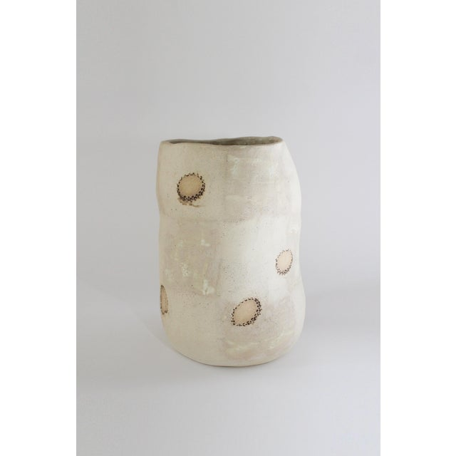 White Sand Ceramic Wobbly Vase With Soren Stamps For Sale - Image 4 of 4