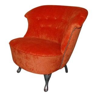 Vintage Swedish Slipper Chair in Orange Bamboo Velvet For Sale