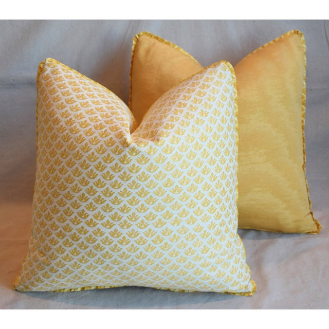 """Italian Mariano Fortuny Canestrelli Feather/Down Pillows 20"""" Square - Pair For Sale - Image 11 of 13"""