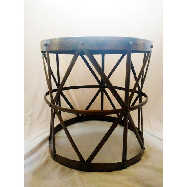 Hammered Bronze Drum Side Table - Image 2 of 4