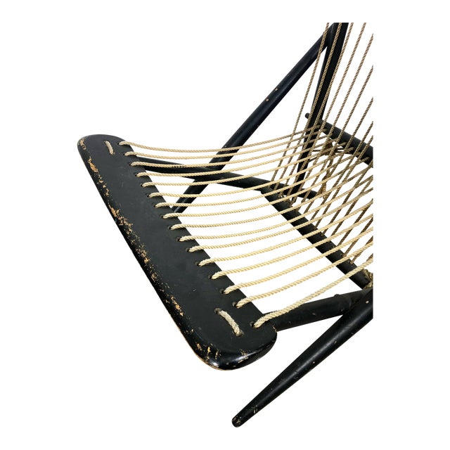 """Early and rare lounge chair by Maruni Japan circa 1950's Original eboninzed wooden frame with rope seat and back. w 22.5""""..."""