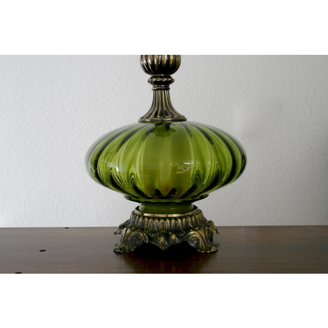 1960s Vintage Green Glass Nightlight Table Lamps - a Pair For Sale - Image 5 of 7