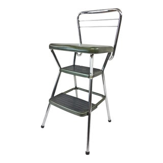 Vintage Chrome & Vinyl Dark Green Step Stool by Cosco For Sale