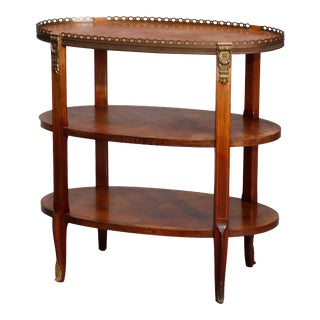 Antique French Satinwood Banded and Bronze Three-Tiered Side Table For Sale
