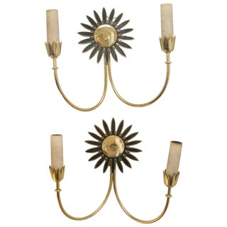 "1960s Italian Brass ""Daisy"" Wall Sconces - a Pair For Sale"