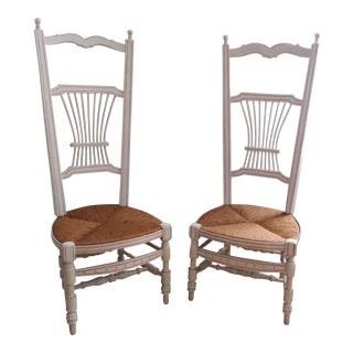 Wood Wicker Rush Seat Boudoir Dressing Room Stocking Chairs - a Pair Wicker Highback Chair