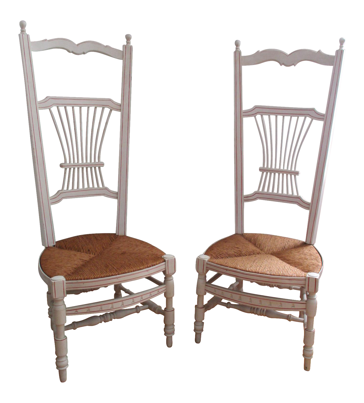 Wood Wicker Rush Seat Boudoir Dressing Room Stocking Chairs   A Pair Wicker  Highback Chair