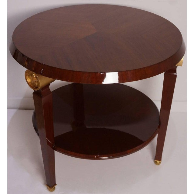 Brown Mid-Century Maison Jansen Style Center Table Tiered Mahogany For Sale - Image 8 of 12