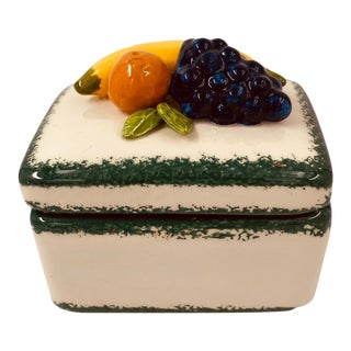 Vintage Ceramic Fruit Trinket Box For Sale