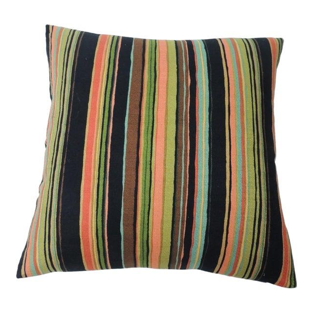 "Barkcloth ""Delray"" Multi-Color Stripes Decorative Pillow For Sale"