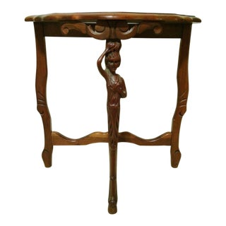 Antique French Style Figurative Carved Walnut Console Table