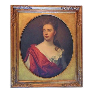 Early 18th Century Antique Sir Godfrey Kneller Oil on Canvas Aristocratic Woman Portrait Painting