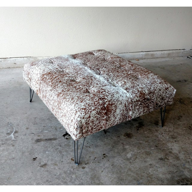 Gambrell Renard Tufted Cowhide Ottoman - Image 2 of 8